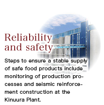 Steps to ensure a stable supply of safe food products include monitoring of production processes and seismic reinforcement construction at the Kinuura Plant.